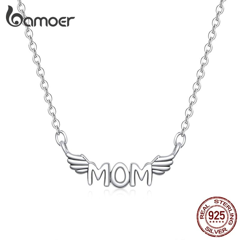bamoer Mom Neckalce for Women 925 Sterling Silver Wings Chain Necklace for Women Mother Gift Bijoux 2020 New Mode SCN397