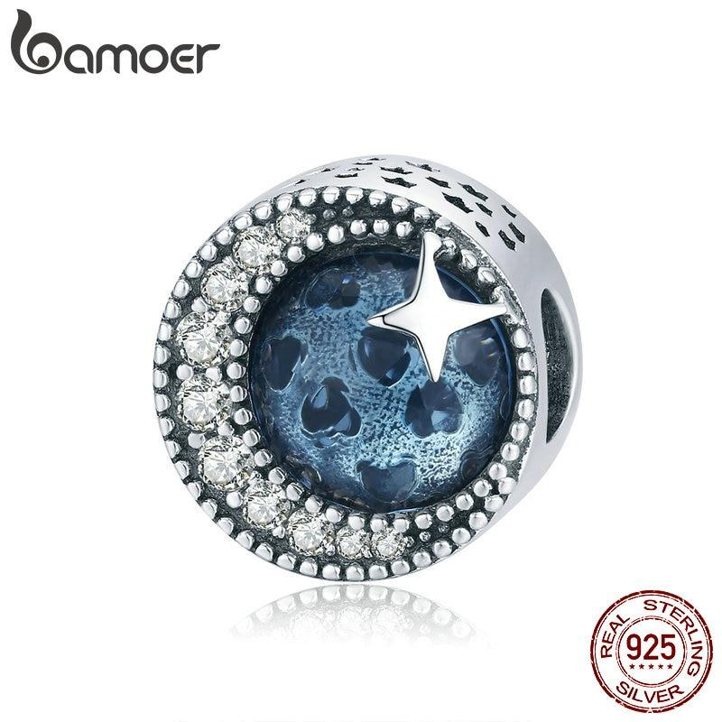bamoer Moon and Star Radiant Heart Sea Blue Charm fit Original Snake Bracelet 925 Sterling Silver Women Jewelry Making BSC229