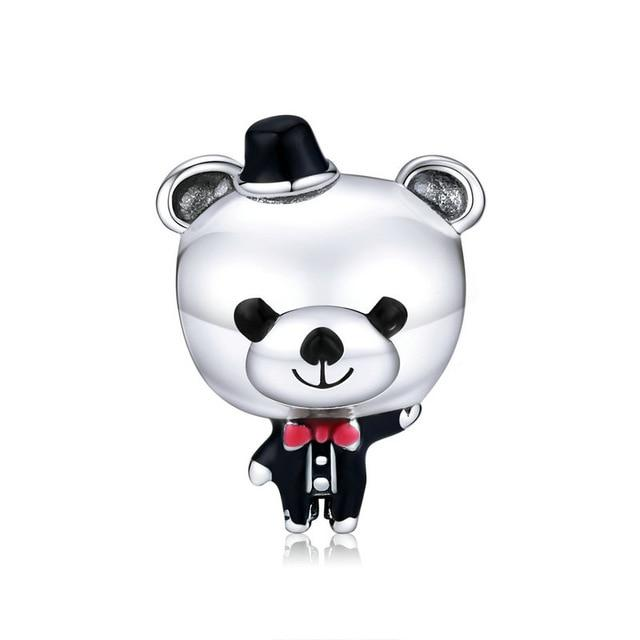 bamoer Mr. Bear the Groom in Wedding Charm for Original Silver Bracelet or Bangle 925 Sterling Silver Fine Jewelry SCC1473
