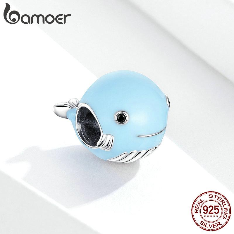 bamoer Real 925 Sterling Silver Blue Enamel Whale Beads Protect Ocean Animal Metal Charm fit Original Silver Bracelet BSC250