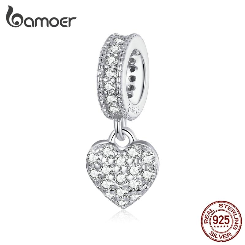 bamoer Shiny Heart Pendant Charm for Original Silver Snake Bracelet or Necklace 925 Sterling Silver Brand Jewelry BSC211