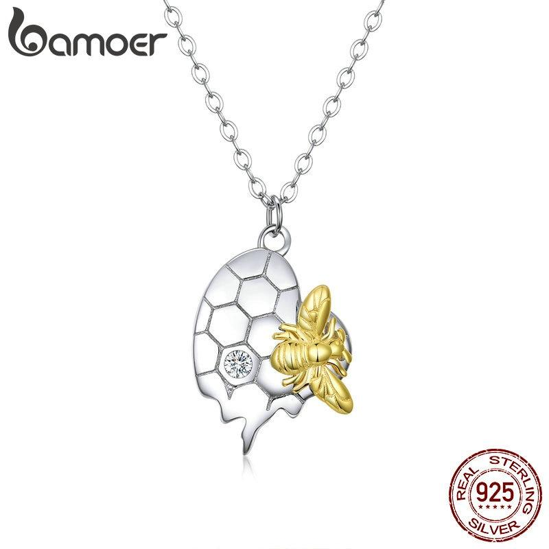 bamoer Sterling Silver 925 Honey Hive with Bee Bicolor Pendant Necklace for Women Chain Necklaces Hypoallergenic Jewelry SCN396