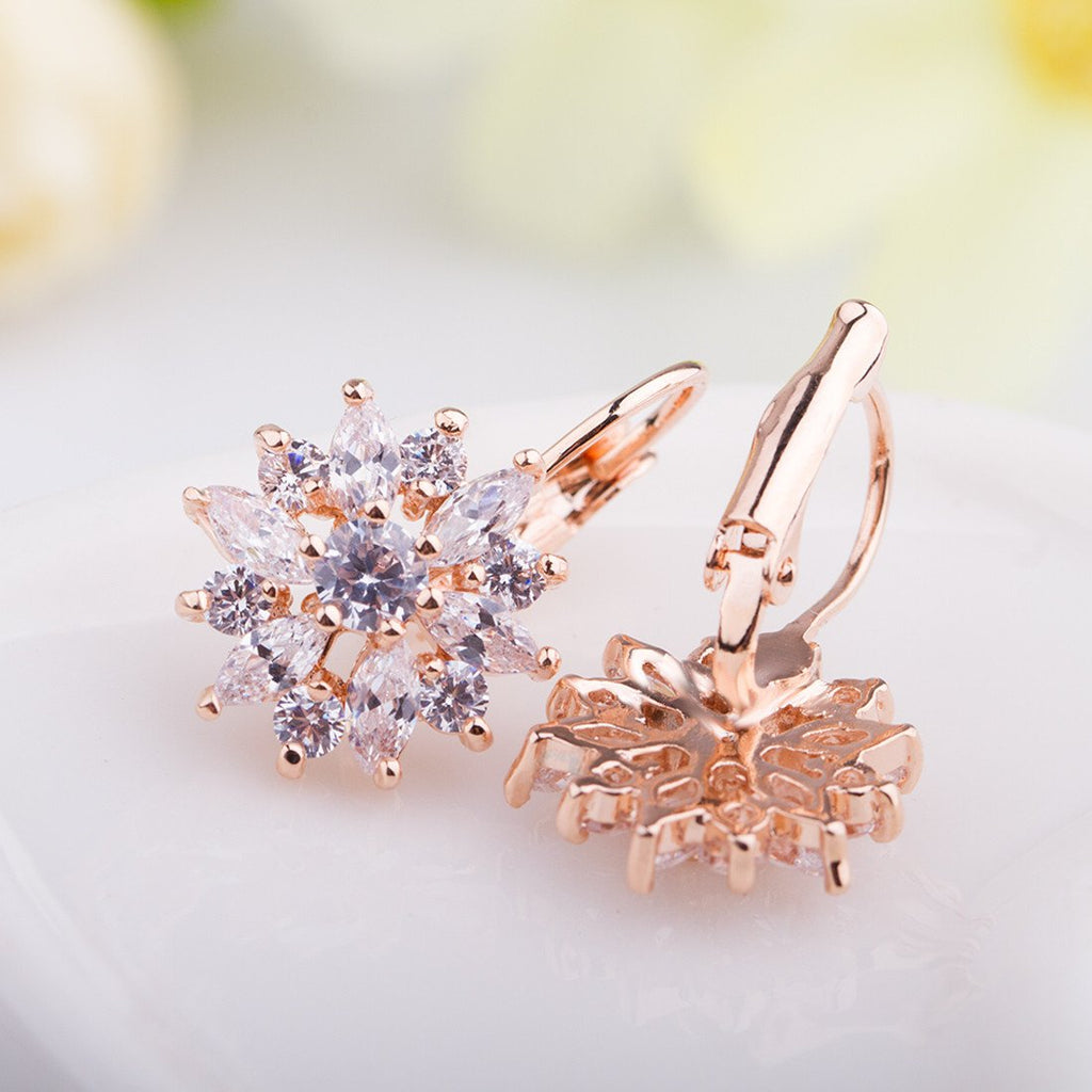 Cubic Zirconia Champagne Gold Flower Snowflake Stud Earrings for Gilrs Sisters JIE014