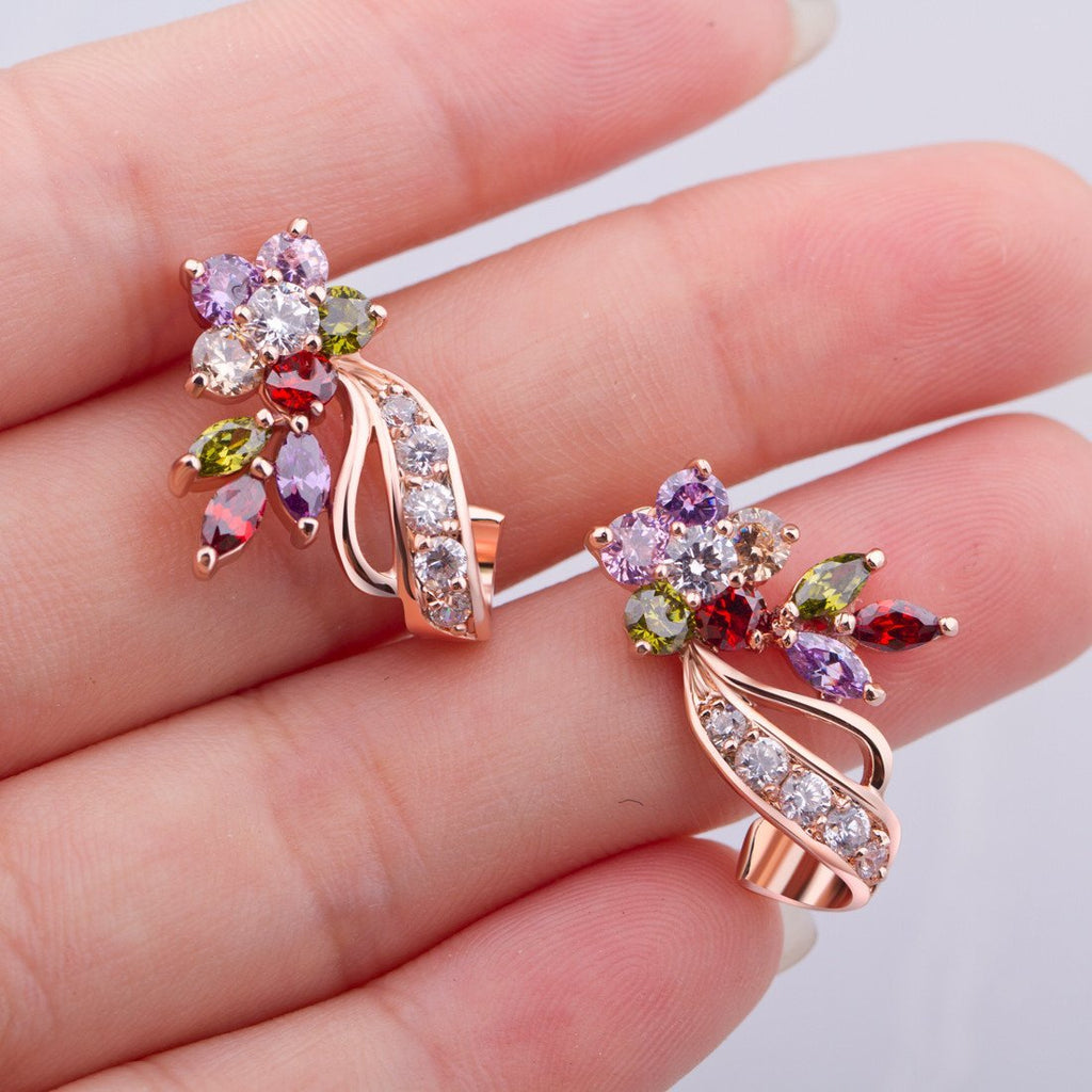 18K Rose Gold Plated Fashion Jewelry Stud Earrings with AAA Colorful Zircon Crystal Birthday Gift for Teen Girls and Women Length 0.91 Iches JIE019