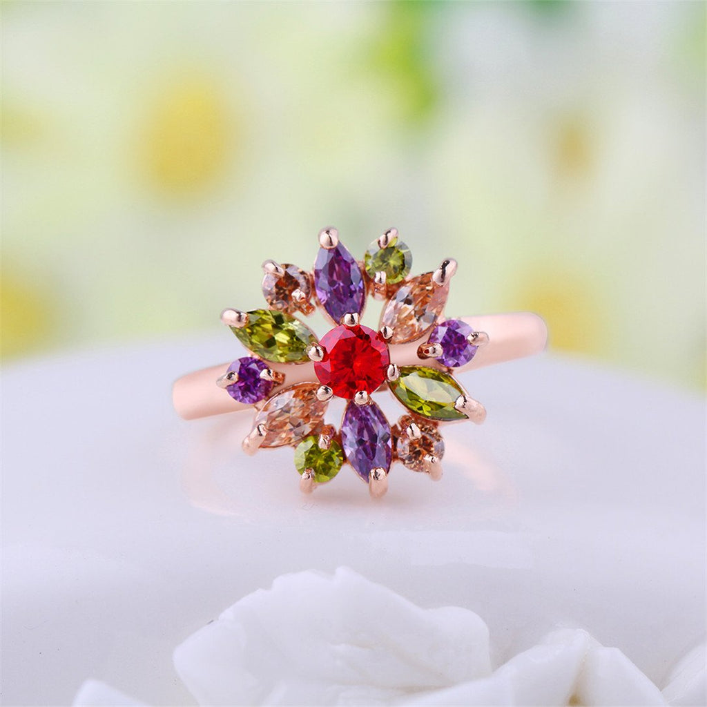 """Snowflake"" 18K Rose Gold-Plated Colorful Cubic Zirconia Promise Finger Rings Size 8 JIR031-9"