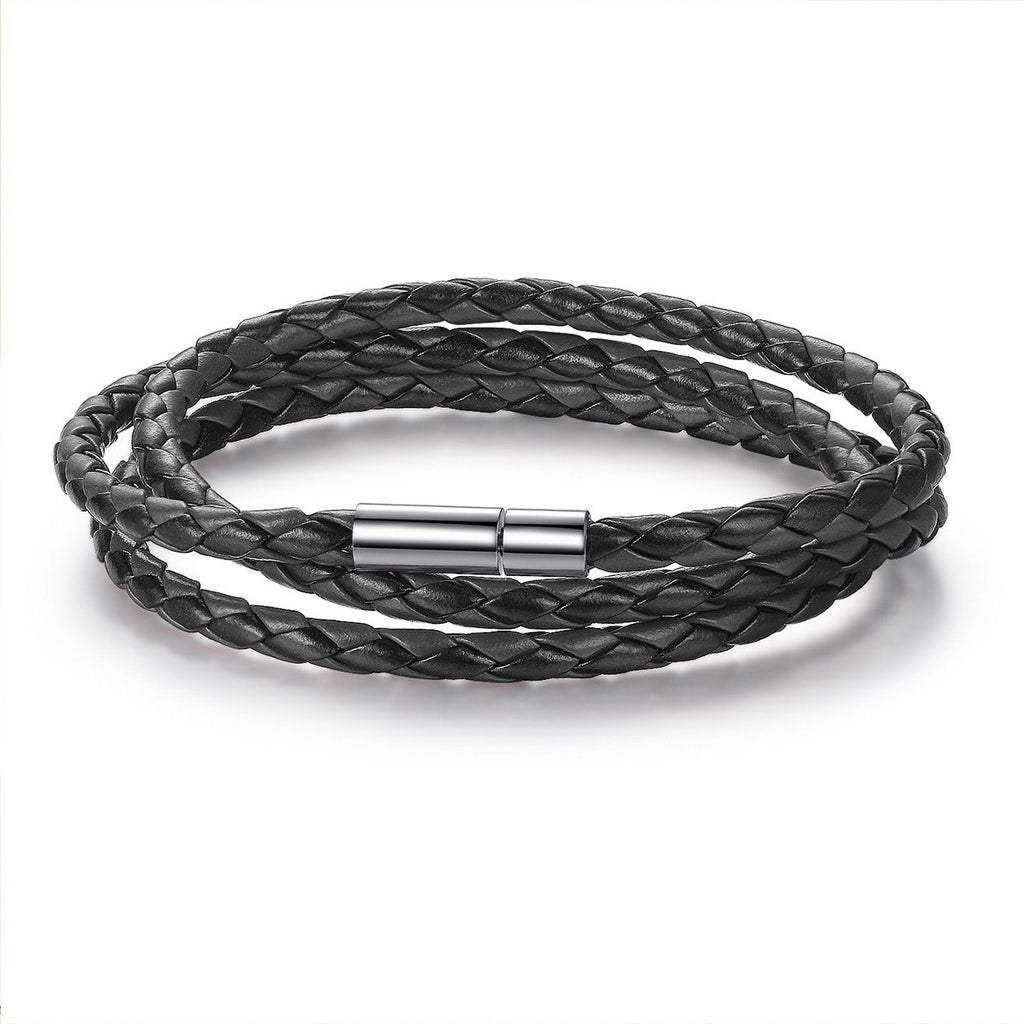 Cheap Wholesale Fashion Men & Women Leather Bracelet with Adjustable Long Chain Magnet Black Bracelets Jewelry PI0063-1