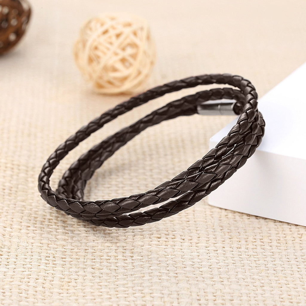 Unisex Adjustable Chain Brown Leather Bracelet with Magnet Buckle Fashion Jewelry pulseras hombre PI0063-3