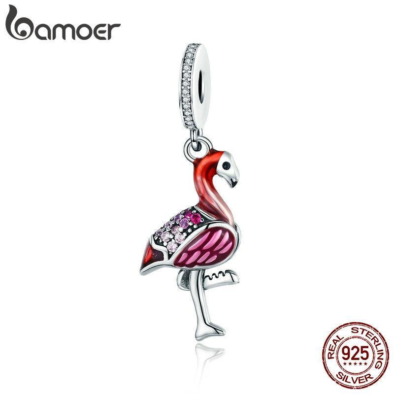 BAMOER Trendy New 925 Sterling Silver Hot Red Bird Enamel Charms Pendant Fit Charm Bracelets & Necklaces Chain Jewelry SCC804 | BAMOER