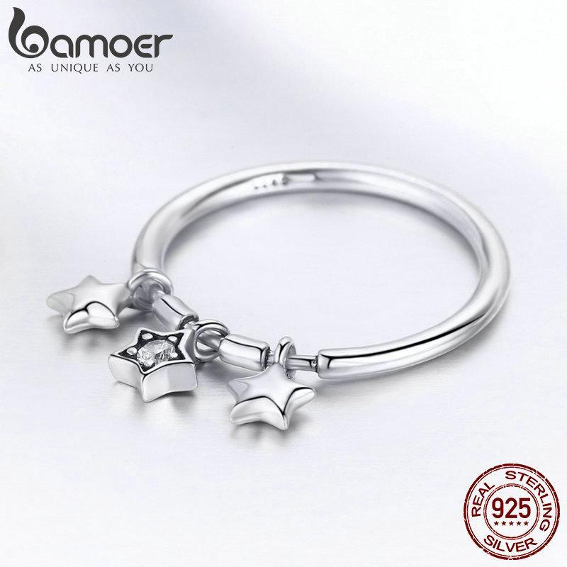BAMOER Fashion Sparkling Dangle Star Finger Rings for Women Wedding Engagement Ring Jewelry SCR406