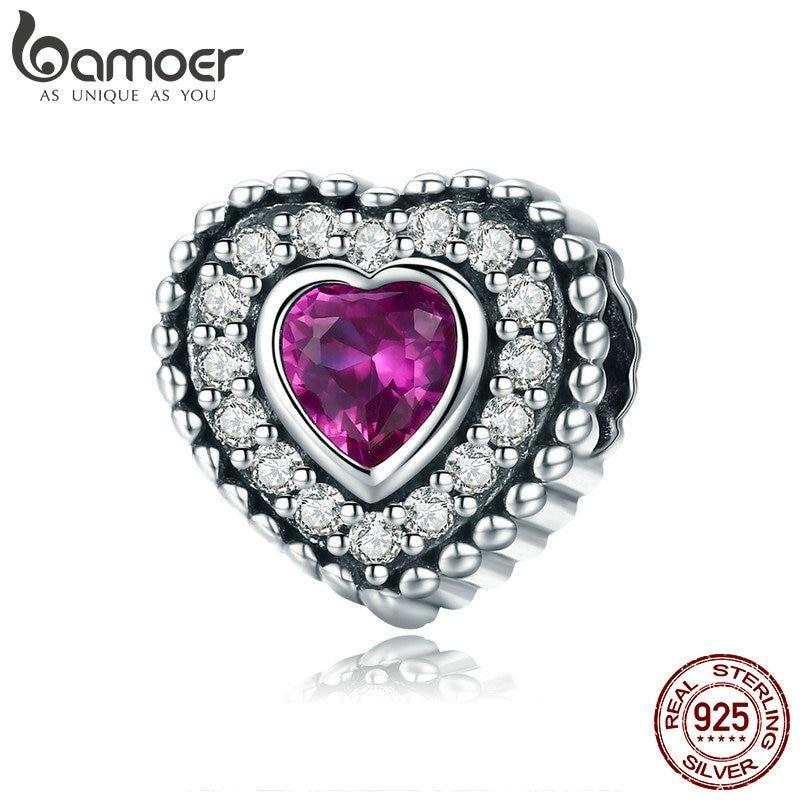BAMOER Trendy 925 Sterling Silver Romantic Heart Luminous CZ Heart Charm Beads fit Women Bracelet & Necklaces DIY Jewelry SCC799 | BAMOER