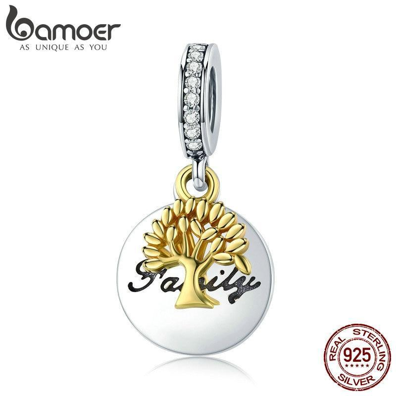 BAMOER Fashion New 925 Sterling Silver Family Tree Gold Color Tree CZ Charm fit Women Bracelets Necklaces DIY Jewelry SCC816 | BAMOER