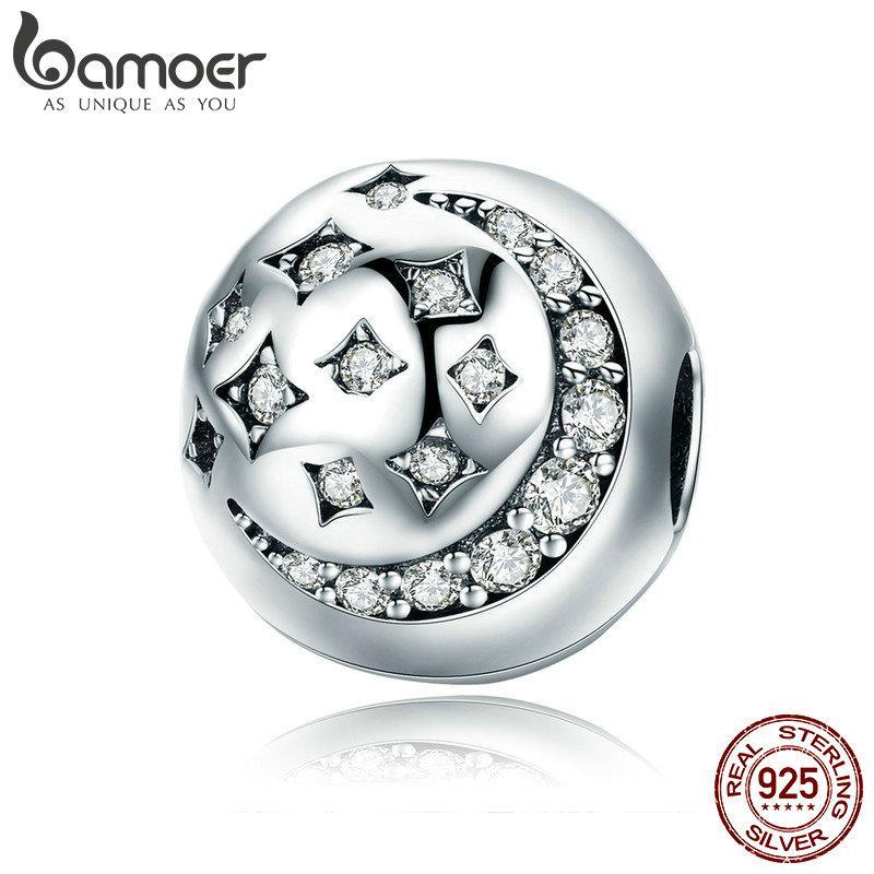 BAMOER High Quality 925 Sterling Silver Moon & Star Stopper Sparkling CZ Beads fit Women Charm Bracelet DIY Jewelry SCC813 | BAMOER