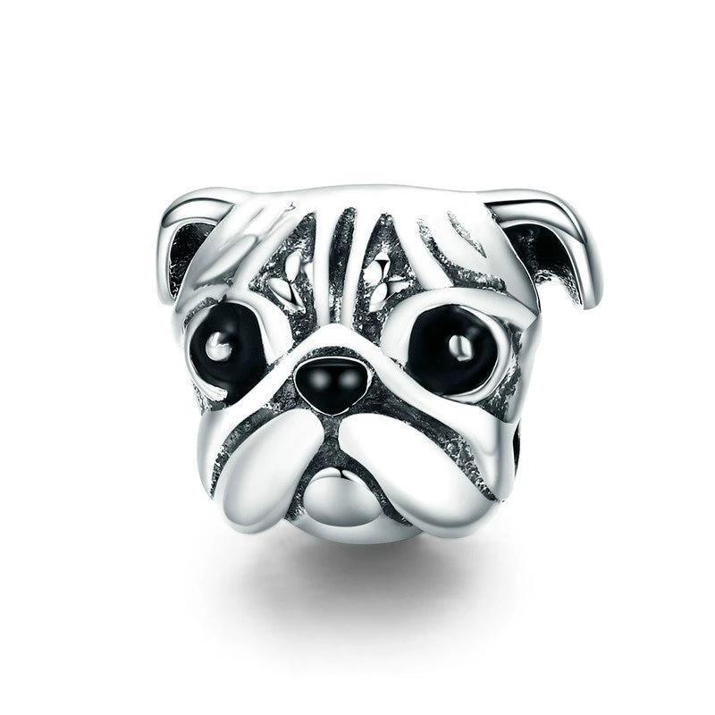 BAMOER 100% 925 Sterling Silver Lovely Animal Pug Dog Head Charm Beads fit Women Charm Bracelets & Necklaces DIY Jewelry SCC834 | BAMOER