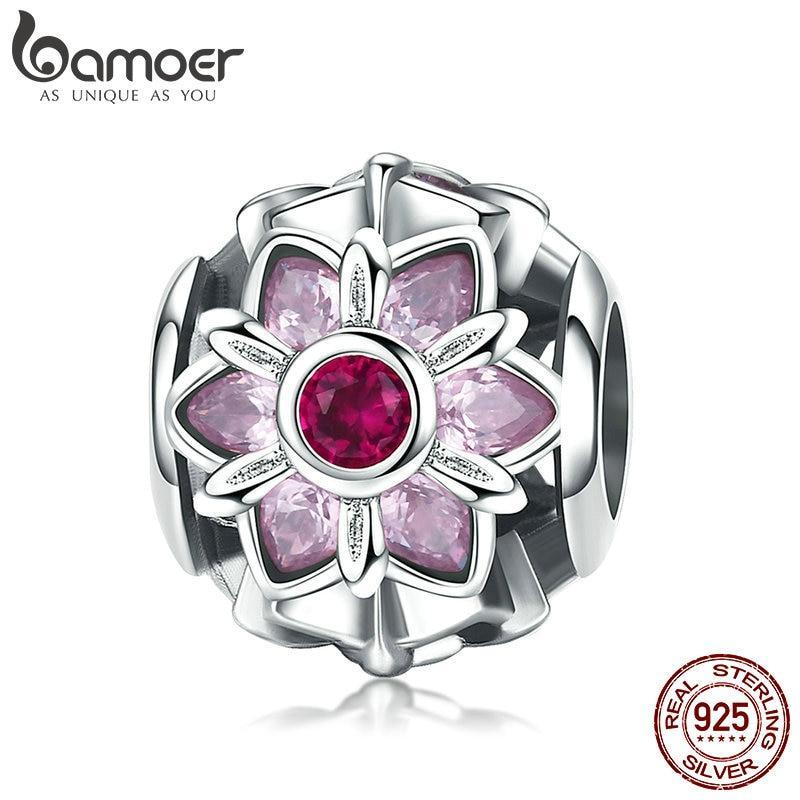 BAMOER 925 Sterling Silver Crystal  Flower Pink CZ Flower Beads fit Women Charm Bracelets DIY Jewelry Girlfriend Gift SCC839 | BAMOER