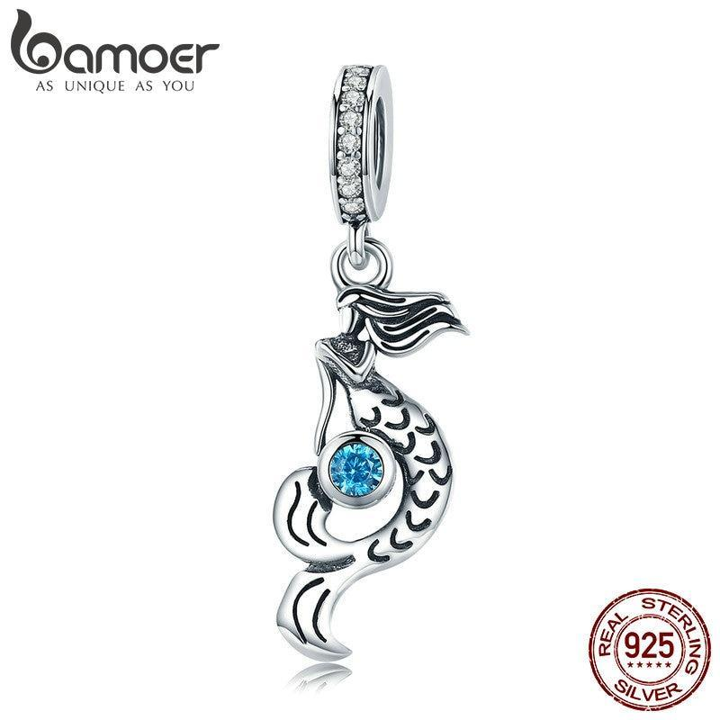 BAMOER Genuine 925 Sterling Silver Mermaid's missing Pendant Charm fit Women Charm Bracelets DIY Jewelry Girlfriend Gift SCC824 | BAMOER