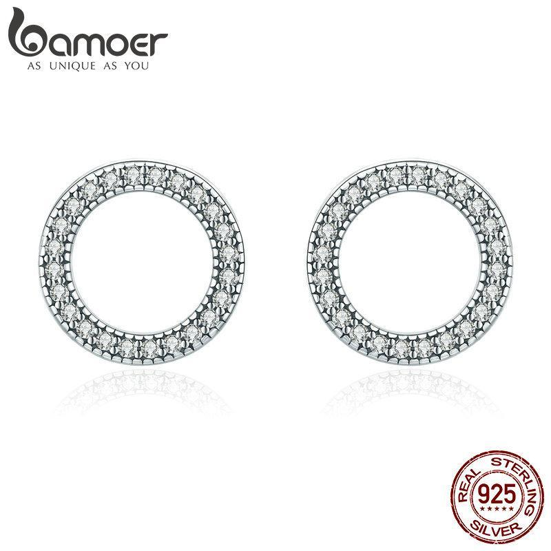 BAMOER Hot Sale Genuine 925 Sterling Silver Luminous Round Circle Stud Earrings for Women Sterling Silver Jewelry Gift SCE417 | BAMOER