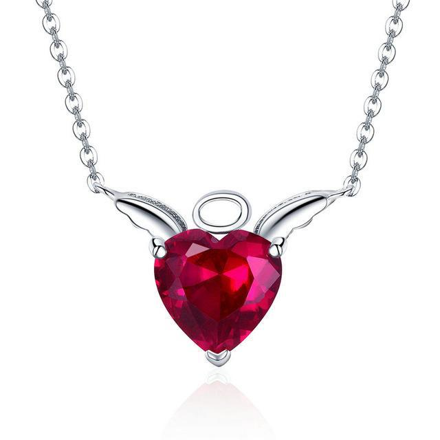 BAMOER New Collection 100% 925 Sterling Silver Devil Wings Red CZ Necklaces Pendant For Women Fashion Silver Jewelry SCN286 | BAMOER