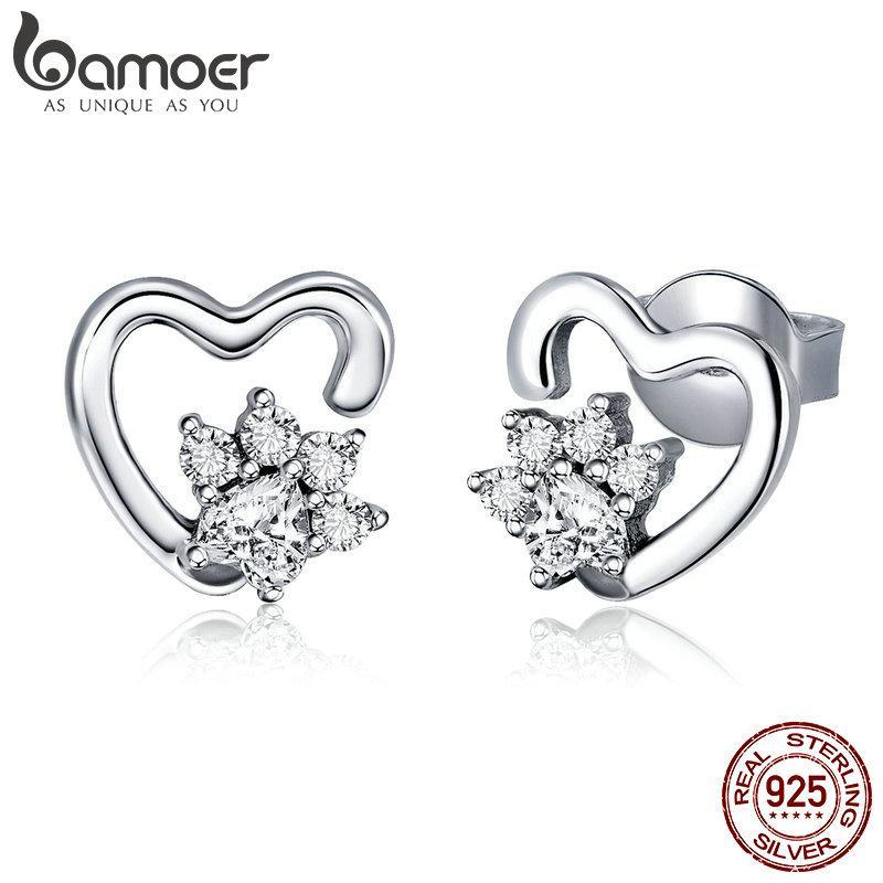 BAMOER Fashion 925 Sterling Silver Classic Heart Clear Cubic Zircon Stud Earrings for Women Sterling Silver Jewelry 2018 SCE415 | BAMOER