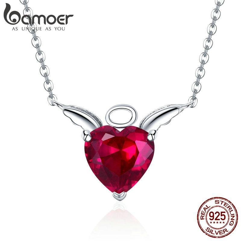 BAMOER New Collection 100% 925 Sterling Silver Angel Wings Red CZ Necklaces Pendant For Women Sterling Silver Jewelry SCN285 | BAMOER