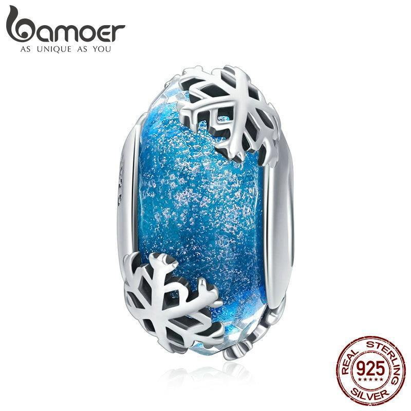 BAMOER Genuine 925 Sterling Silver Winter Snowflake Blue Murano Glass Beads Fit Charm Bracelets & Bangles DIY Jewelry SCC862 | BAMOER