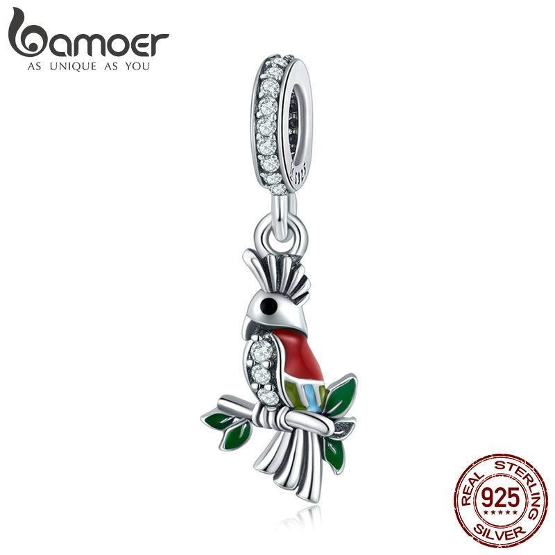 BAMOER 100% 925 Sterling Silver Vivid Parrot Colorful Crystal CZ Pendant Charms Fit Bracelets & Necklaces DIY Jewelry SCC850 | BAMOER