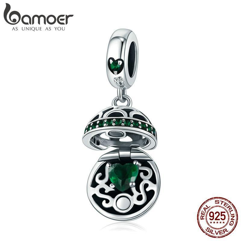 BAMOER 100% 925 Sterling Silver Love Gift Box Dangle Ball Charm Green CZ Charms Fit Bracelets & Necklaces DIY Jewelry SCC689-LB | BAMOER