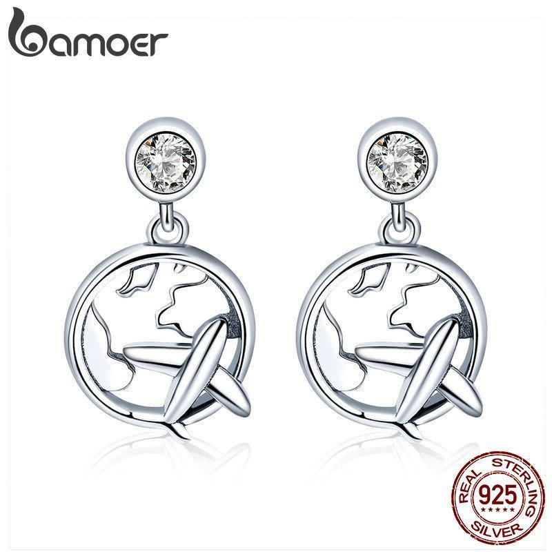 BAMOER Genuine 925 Sterling Silver Travel Plane Traveling Dream Stud Earrings For Women Fashion Sterling Silver Jewelry SCE427 | BAMOER