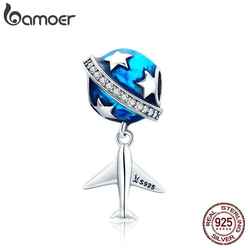 BAMOER Sparkling Star And Plane Dream Clear CZ Blue Enamel Charms SCC887