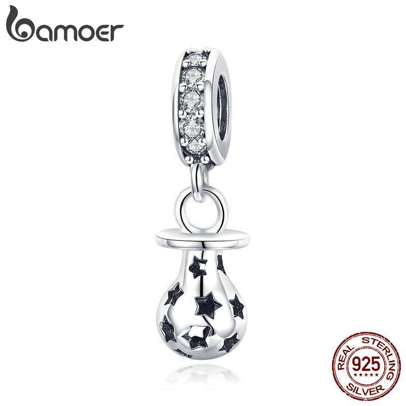BAMOER New Arrival 925 Sterling Silver Baby Pacifier And Star Engrave Pendant Charms fit Women Bracelets DIY Jewelry SCC891 | BAMOER