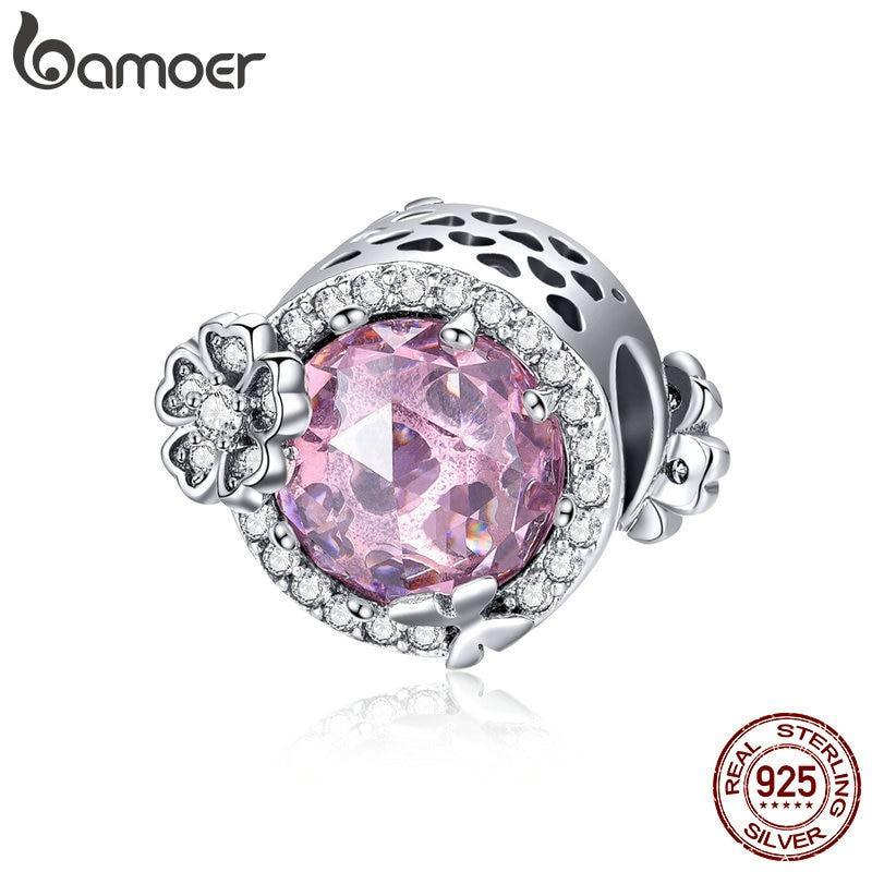 BAMOER 925 Sterling Silver Pink Flavor Daisy Flower Radiant CZ Charms Beads fit Original Bracelets DIY Jewelry Making SCC904 | BAMOER
