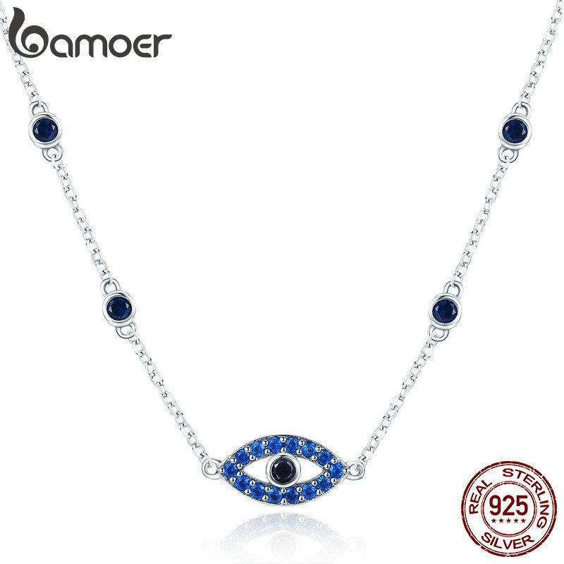 BAMOER Real 925 Sterling Silver Guardian Lucky Eye Blue CZ Chain Pendant Necklaces for Women Sterling Silver Jewelry SCN300 | BAMOER