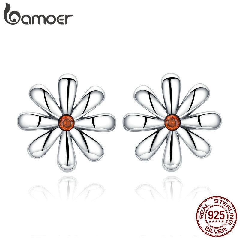 BAMOER Authentic 925 Sterling Silver Daisy Flower Whisper Stud Earrings for Women Simple Flower Fashion Earrings Jewelry SCE460 | BAMOER