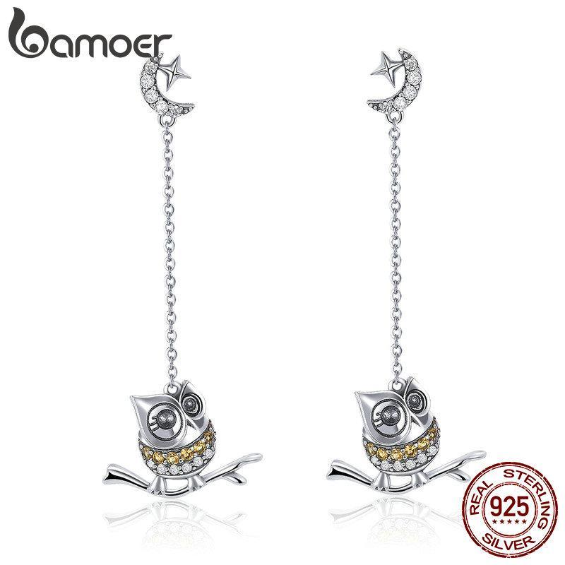 BAMOER Authentic 925 Sterling Silver Cute Owl Long Chain Drop Earrings for Women Moon Clear CZ Sterling Silver Jewelry SCE396 | BAMOER