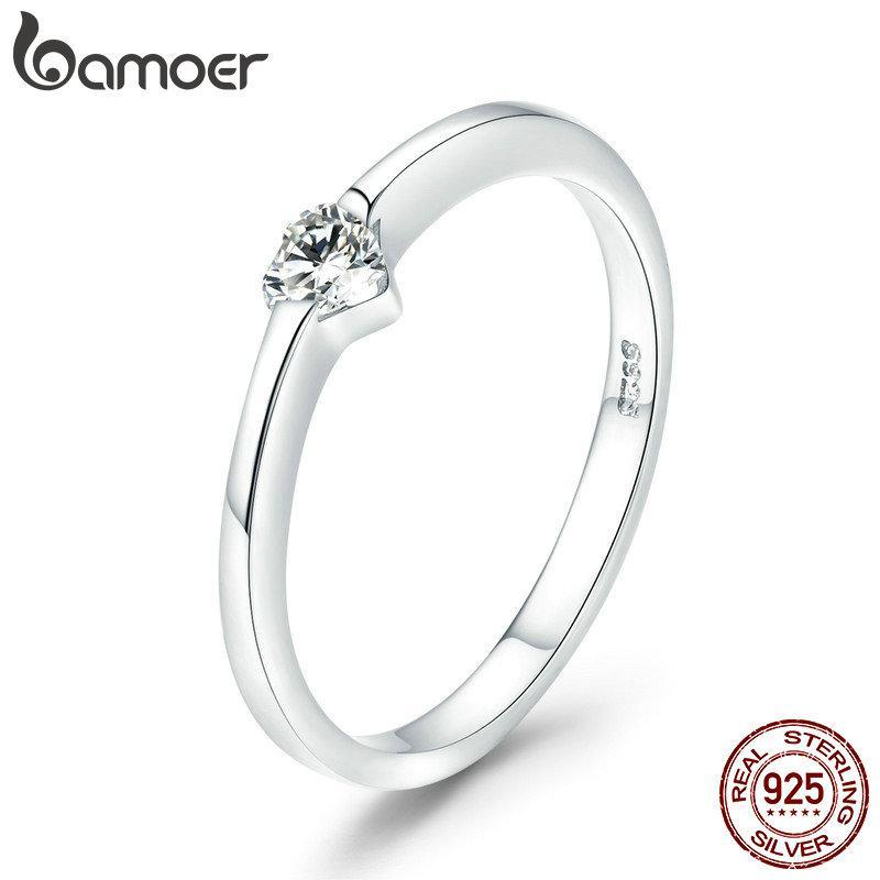 BAMOER Authentic 925 Sterling Silver Luminous Finger Ring Simple Heart Wedding Rings for Women Wedding Engagement Jewelry SCR450 | BAMOER