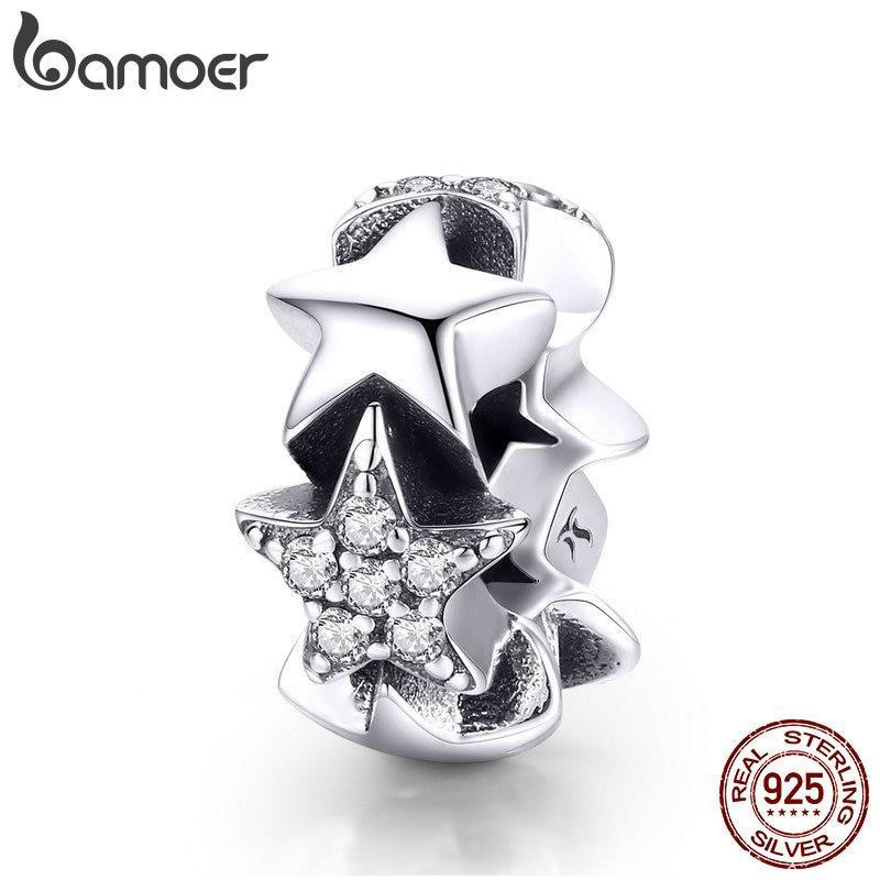 BAMOER Genuine 925 Sterling Silver Little Star to Star Beads Clear CZ Spacer fit Women Bracelets Bangles Jewelry Making SCC929 | BAMOER