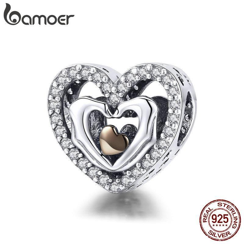 BAMOER Love Collection Romantic 925 Sterling Silver Finger Love Heart Charm Beads fit Necklaces Jewelry Accessories SCC934 | BAMOER