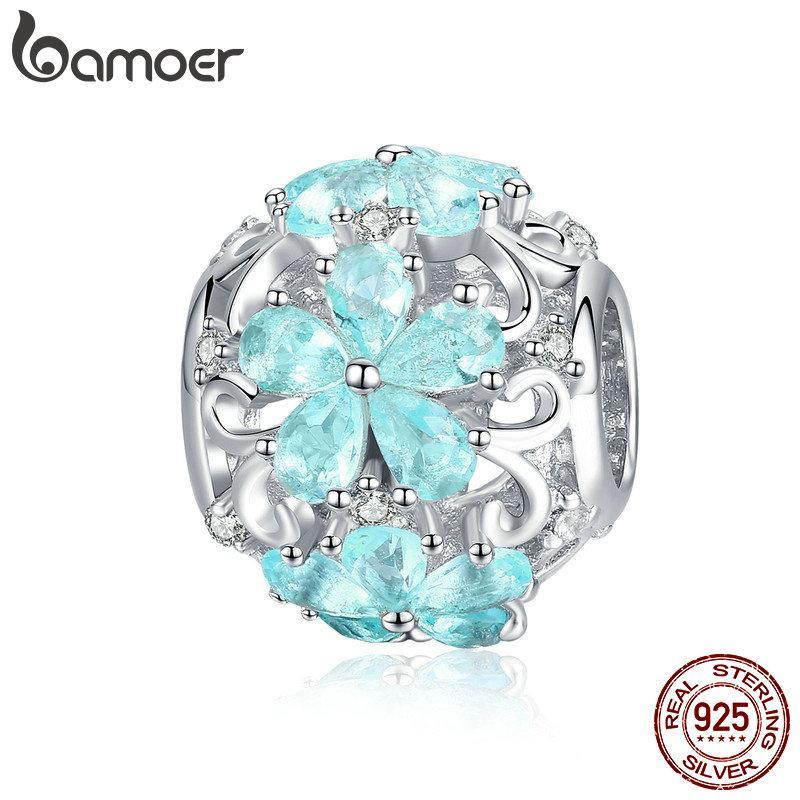 BAMOER Winter Collection 925 Sterling Silver Elegant Snowflake Beads Light Blue CZ Charms fit Charm Bracelets DIY Jewelry SCC941 | BAMOER