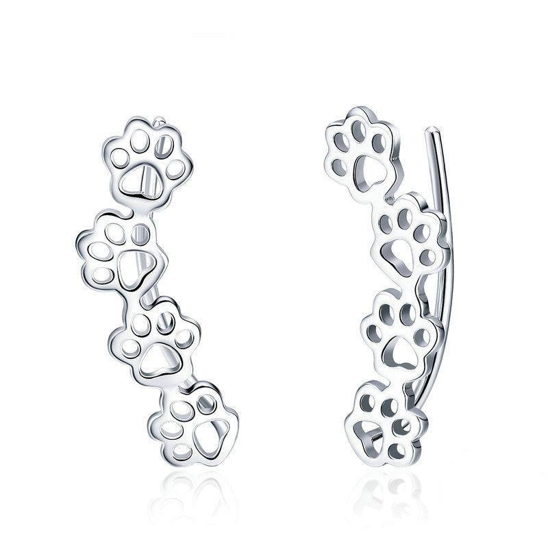 BAMOER Hot Sale 925 Sterling Silver Paw Trail Cat And Dog Footprints Stud Earrings for Women Sterling Silver Jewelry SCE430 | BAMOER