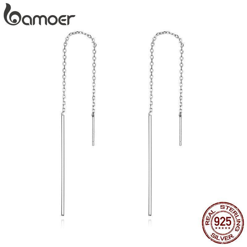 BAMOER Elegant New Genuine 925 Sterling Silver Simple Line Drop Earrings for Women Authentic Silver Jewelry Gift SCE490 | BAMOER