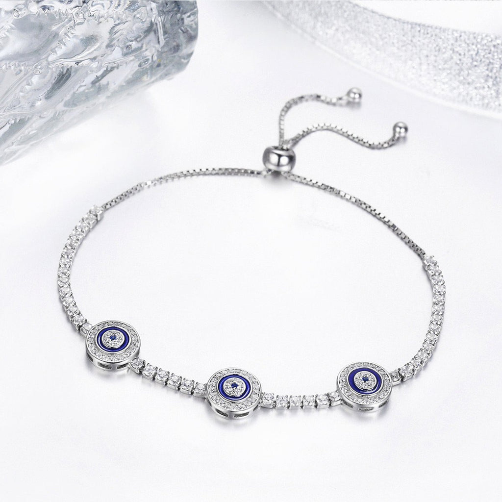 925 Sterling Silver Luxury Round Blue Eyes Clear Cubic Zircon Crystal Tennis Adjustable Bracelet Jewelry SCB002