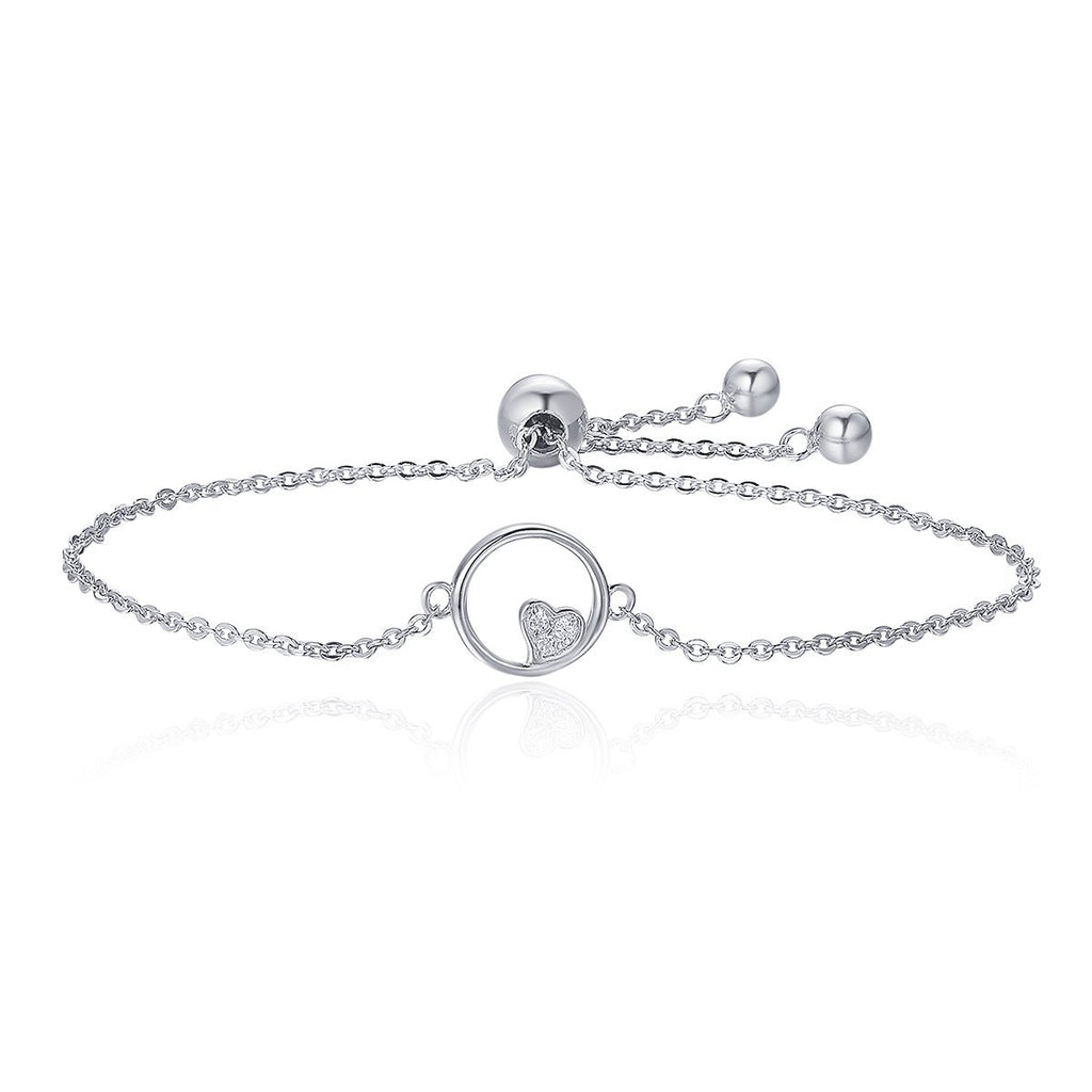 925 Sterling Silver Sweetheart Heart In Circle Chain Bracelets For Women Luxury Authentic Silver Jewelry SCB020
