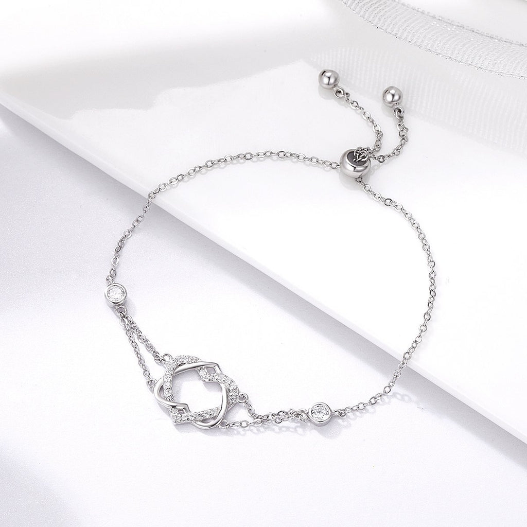 925 Sterling Silver Twisted Double Heart in Heart Chain Bracelets For Women Authentic Silver Jewelry Gift SCB022