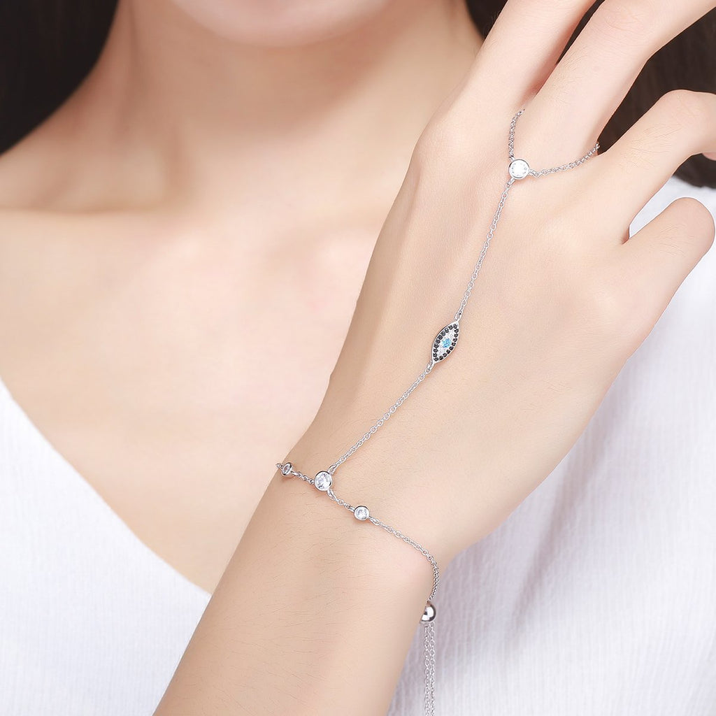 925 Sterling Silver Double Layer Magic Of Blue Eye Bracelets for Women Luxury Jewelry SCB023