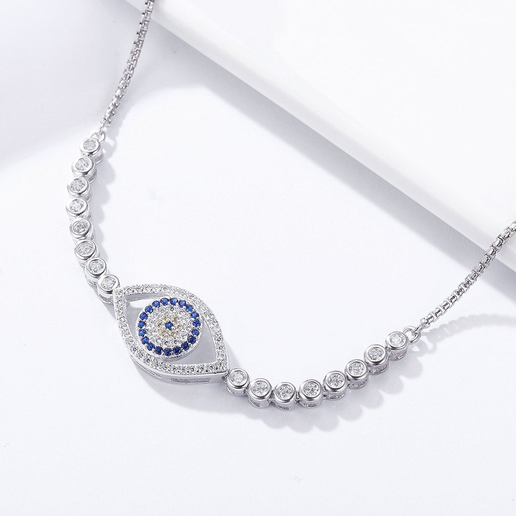 100% 925 Sterling Silver Blue Eye Tennis Bracelet Women Lace up Link Chain Bracelet Silver Jewelry SCB034