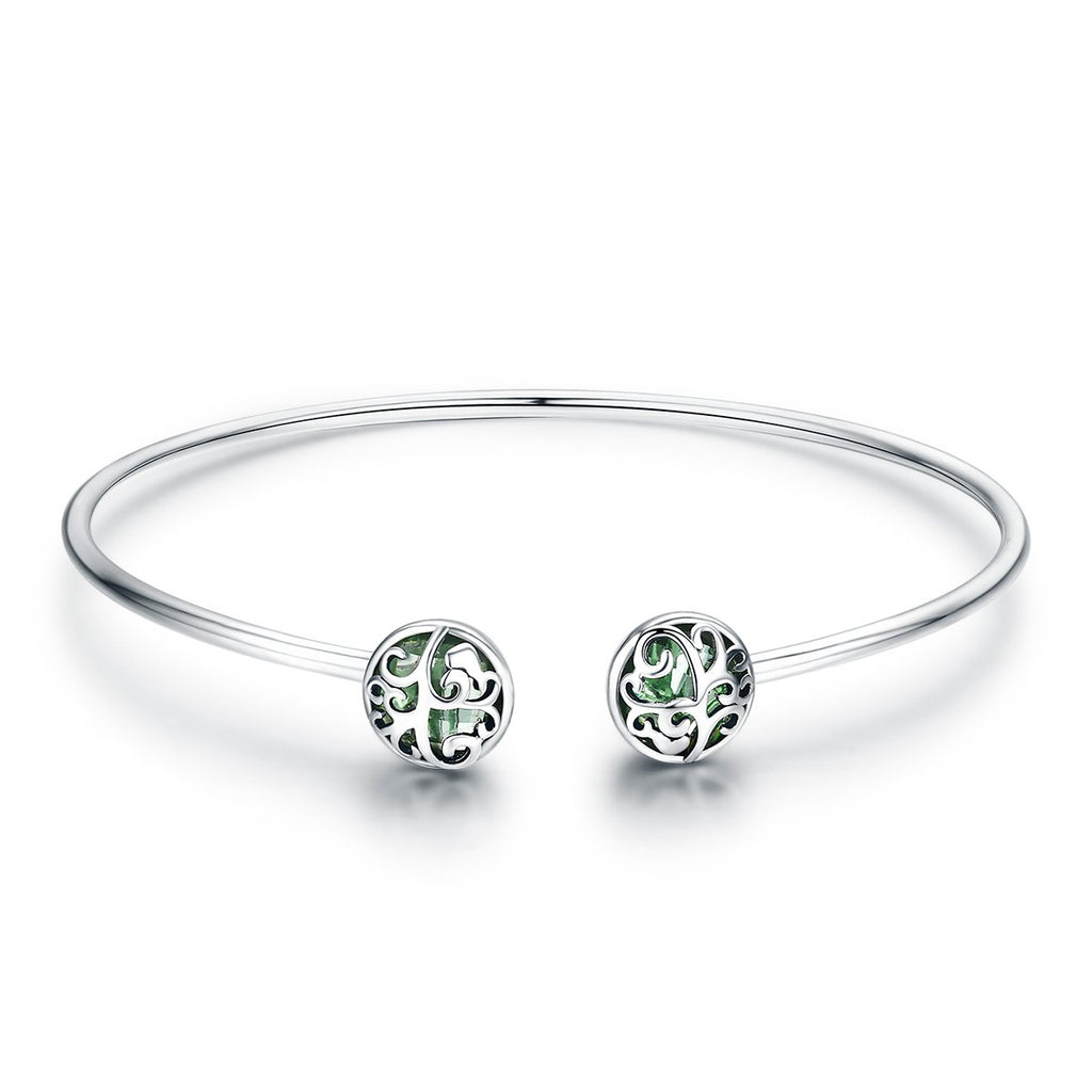 Genuine 925 Sterling Silver Tree of Life Green Crystal CZ Women Open Cuff Bangle & Bracelet Luxury Silver Jewelry SCB057