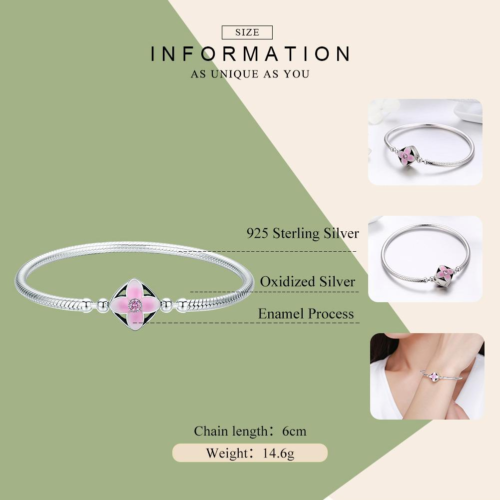 Authentic 925 Sterling Silver Spring Cherry Flower Square Clasp Snake Chain Bracelet Sterling Silver Jewelry S925 SCB065
