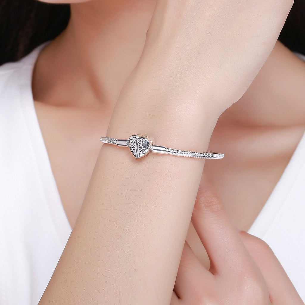 100% 925 Sterling Silver Spring Tree of Life Heart Shape Clasp Snake Chain Bracelet Sterling Silver Jewelry S925 SCB066