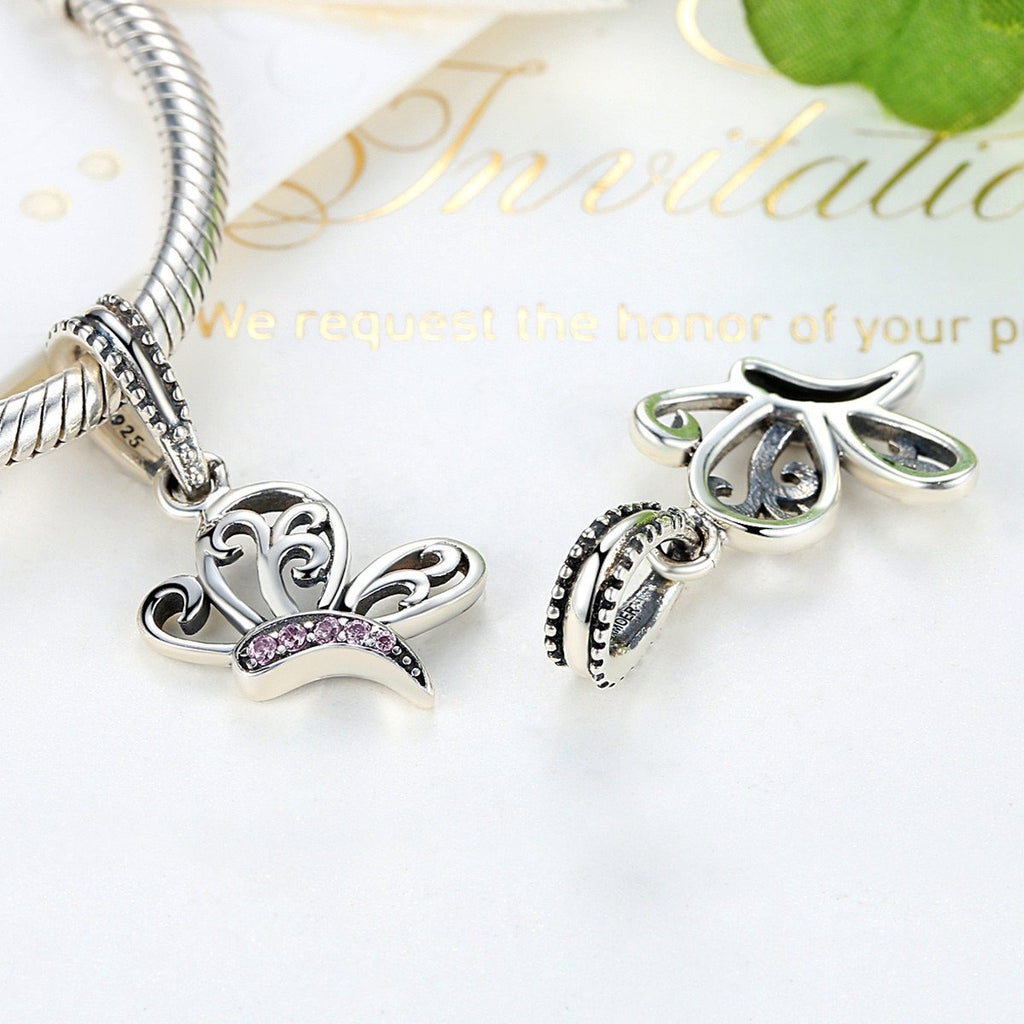 925 Sterling Silver Charms Butterfly Bee Insects Bead Pendants Charm fit Bracelets for Women  SCC045