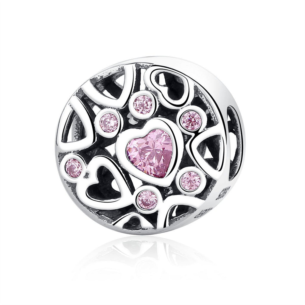 High Quality 925 Sterling Silver Pink Stone Heart to Heart Beads Charms fit Women Bracelets & Necklaces Jewelry SCC054