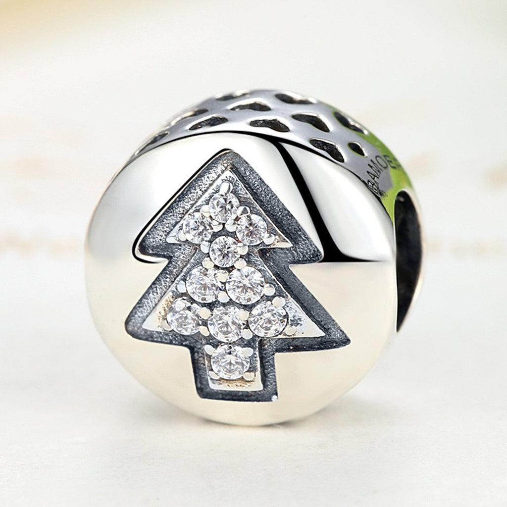 925 Sterling Silver Christmas Tree Collection  DIY CZ Diamond Charms for European Bracelet Necklace   SCC064